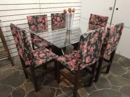Título do anúncio: Linda Mesa vidro 1,30x90 c/6 cadeiras estofadas