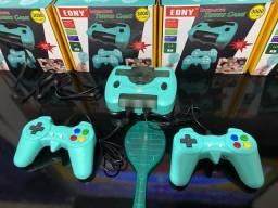 Vídeo game retro 3000 jogos - duas manetes e uma raquete para jogos interativos