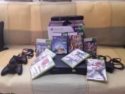 XBox 360 Desbloqueado + 2 controles + 8 jogos originais