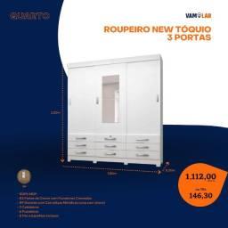 Título do anúncio: Roupeiro New Tóquio 3 Portas (Entrega Rápida/Frete Grátis)