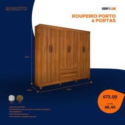 Título do anúncio: Roupeiro Porto 6 Portas (Entrega Rápida/Frete Grátis)