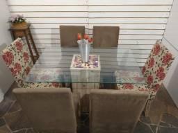 Título do anúncio: Lindíssima mesa vidro 1,30x80 c/6 cadeiras firmes estofadas