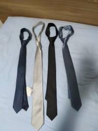 Lote de 4 Gravatas Slim de seda da Alfaiataria Garbo (novas) / Leia Descrição