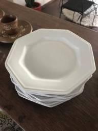 Conjunto de Pratos Sobremesa Schmidt Porcelana Prisma 8 Peças