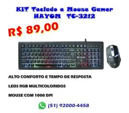 Kit gamer teclado+mouse com LEDs