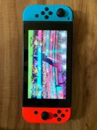Nintendo switch com jogos e película para instalar