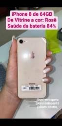 iPhone 8 de Vitrine de 64GB na cor: Rosê bateria 84% 2,300