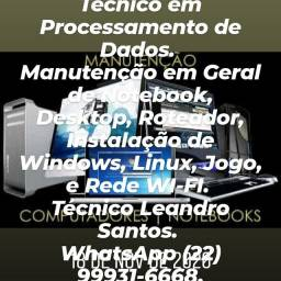 Manutenção de Computadores em Geral. Técnico Leandro. Zap *.