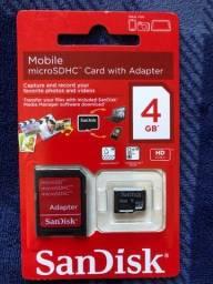 Cartão de Memória + Adaptador SD Sandisk Original 4GB