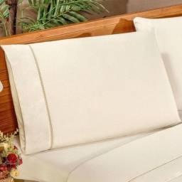 Título do anúncio: Kit 2 Fronhas Envelope Avulsa Cor Palha 100% Algodão Ponto Palito Promoção