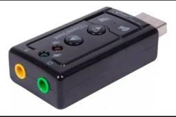 Placa De Som Usb 7.1 Adaptador Audio P2 P3 Pc Notebook<br><br><br>