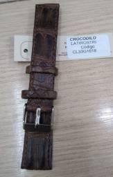 Pulseira de relógio em couro natural de crocodilo