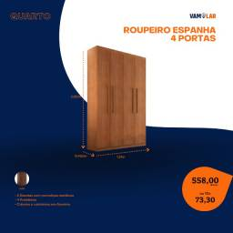 Título do anúncio: Roupeiro Espanha 4 Portas (Entrega Rápida/Frete Grátis)