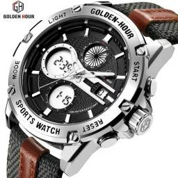 Título do anúncio: Relógio Gold Hour Militar Original Á Prova D'água