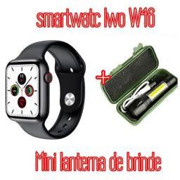 Relógio smartwatc Iwo W46 + mini lanterna tática recarregável