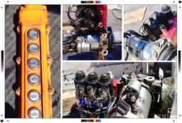 Kit Hidráulico 12 Volts, com motor + bomba + comando de 03 válvulas + botoeira