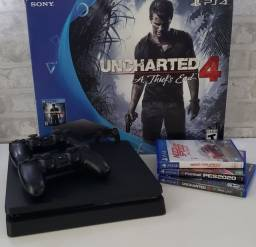 Título do anúncio: Playstation 4 Slim 500 gb + 2 controles + 3 jogos