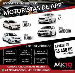Locação Facilitada de Veículos para APP's - A partir de R$ 450,00 / semana