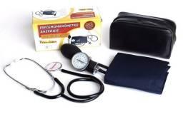 Kit Esfigmomanômetro Azul + Estetoscópio Premium Simples para estudante