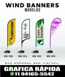 Título do anúncio: Wind Banner/kit completo bandeira e base/tecido microfibra/modelo pena