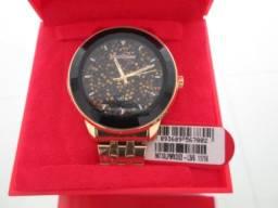 Relógio Mondaine na caixa n. fiscal Cristais em relevo 3d no mostrador Pulseira  Aço Rose