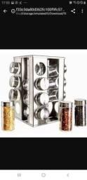 Porta condimentos 16 peças vidro e inox com base giratória