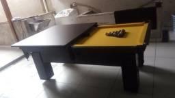Mesa com Pedra de Ardósia Cor Preta Tecido Amarelo Mod. RZHM6560