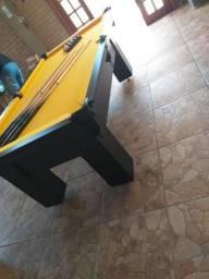 Mesa de Sinuca e Bilhar Cor Preta Tecido Amarelo Mod. VIAC5851