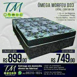 Conjunto Box Casal Ômega Morfeu Espuma D33! Frete Grátis! 2 Travesseiros Brindes<br>