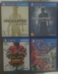 Jogos PS4/ PES 2020,Uncharted collection,Uncharted 4,Street fighter 5