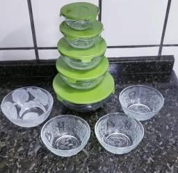Kit potes ou vasilhas de vidro com tampa e sem tampa