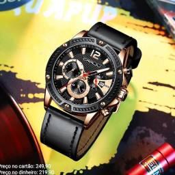 Relógio masculino importado original CRRJU cronógrafo premium