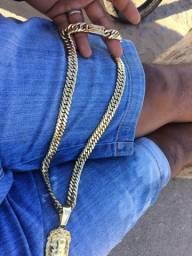 Cordão de prata banhado a ouro novo co garantia de 1 ano