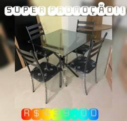 Mesa de vidro 4 cadeiras super promoção