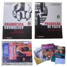 Coleção de livros para vestibular (portugues, redação, matematica, sociologia, filosofia)