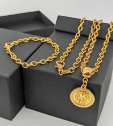 Kit corrente e pulseira banhado a ouro 18k