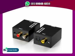 Título do anúncio: Adaptador Conversor Ótico Toslink E Coaxial Digital P/ Rca