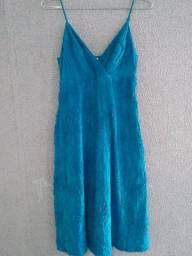 vestido azul midi cantão tamanho p