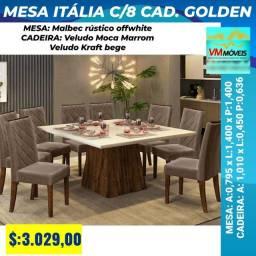 Mesa Itália c/ 8 cadeiras Entrega Goiânia e Aparecida