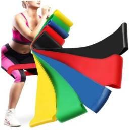 Kit 5 Mini Faixas Elásticas de Resistência Pilates Treino Academia Malhar Fisioterapia