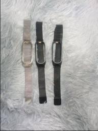 Título do anúncio: Pulseira Magnética Milanese, Pulseira De Aço Inoxidável Para Xiaomi Mi Band 5 6