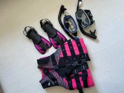 Equipamento de mergulho máscara de mergulho, colete e nadadeira (pé de pato)