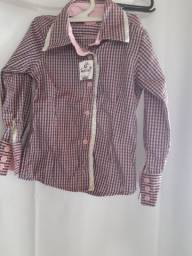 Blusa quadriculada manga longa infantil 3 a 4 anos
