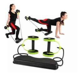 Kit Musculação Exercícios Elástico + Roda Treino Completo
