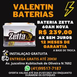 Bateria Zetta 60ah - 12 Meses de Garantia - Entrega Grátis - 6X Sem juros