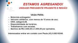Título do anúncio: Contrata se Motoristas Entregador em Presidente Prudente e Região