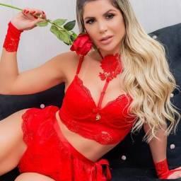 Conjunto Lingerie Renda Vermelha Saia Feminina GG Linda Dia dos namorados