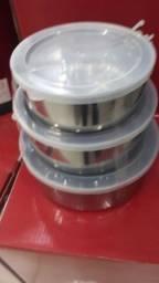 CONJUNTO de 5 potes de inox com tampas plástica.