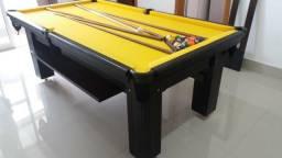 Mesa Carlin Bilhares Cor Preta MDF Tecido Amarelo Tx Mod. TLWV7182