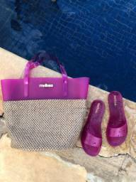Kit melissa bolsa palha  chinelo beach